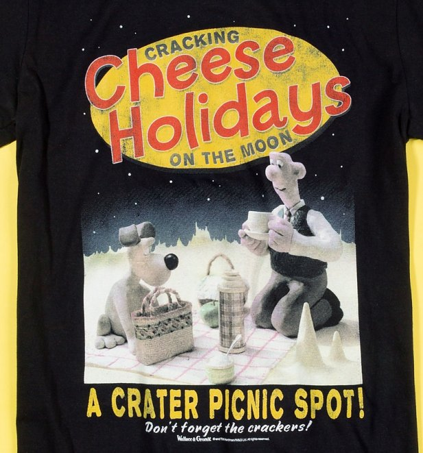 Men's Wallace and Gromit Cracking Cheese Holidays Black T-Shirt