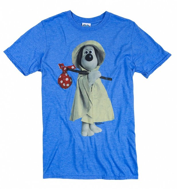 Men's Wallace and Gromit Raincoat Gromit Heather Royal Blue T-Shirt