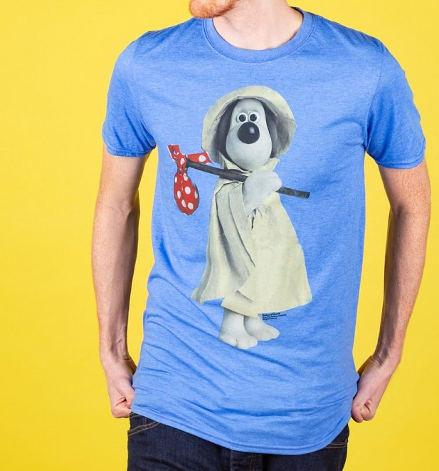Wallace and Gromit Raincoat Gromit Heather Royal Blue T-Shirt