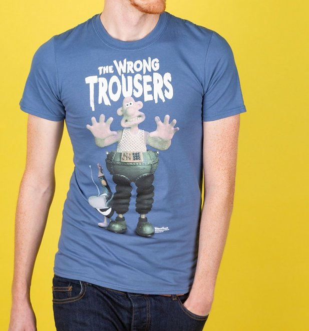 Wallace and Gromit The Wrong Trousers Indigo Blue T-Shirt