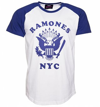 Men's White And Blue Ramones Retro Eagle Logo Baseball T-Shirt