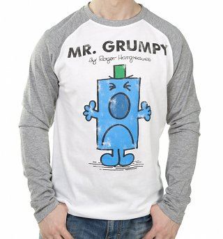 Men's White And Grey Mr Grumpy Mr Men Baseball T-Shirt
