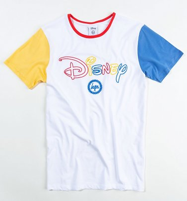 Men's White Disney Logo Colourblock T-Shirt from Hype
