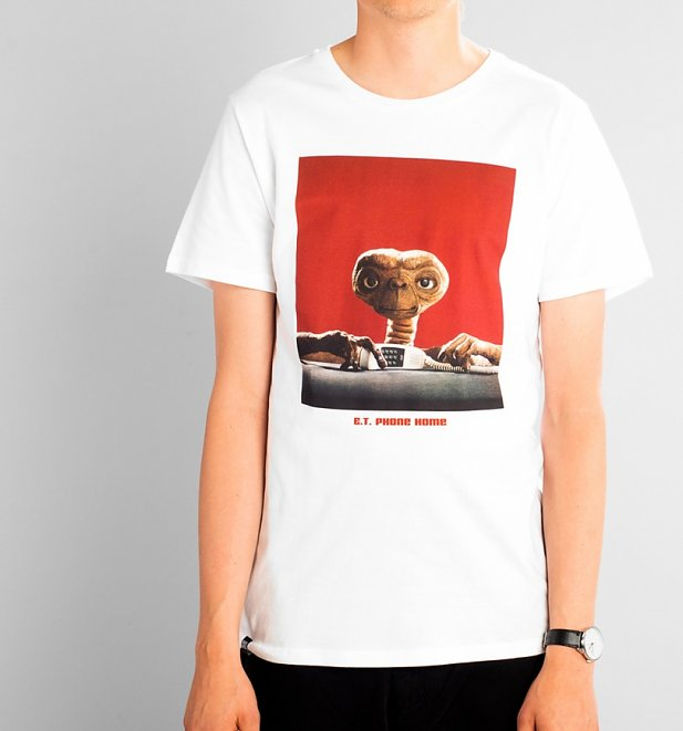 Men's White E.T. Phone Home Organic Cotton T-Shirt from Dedicated