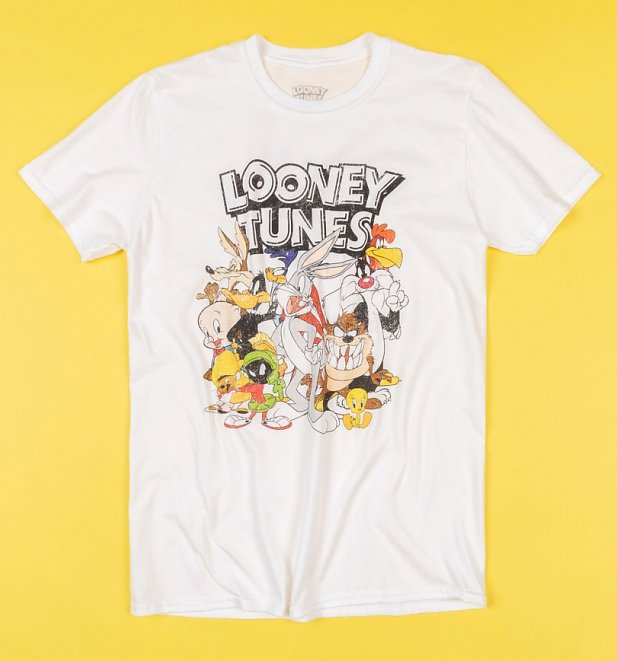 Men's White Looney Tunes That's All Folks T-Shirt with Back Print