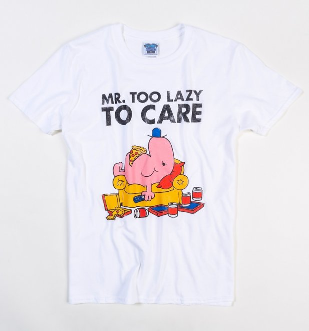 Men's White Mr Lazy Too Lazy To Care T-Shirt