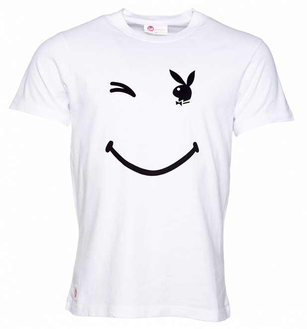 Men's White Playboy Wink T-Shirt from Chunk