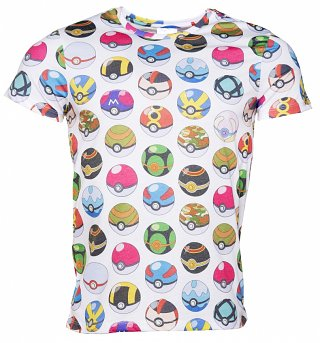 Men's White Pokemon Pokeball All Over Print T-Shirt