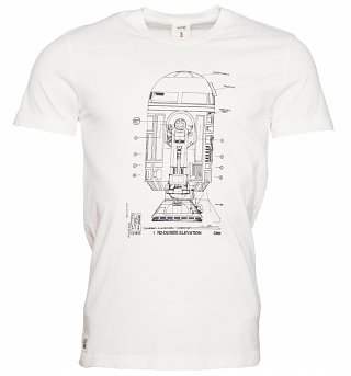 Men's White R2D2 Blueprint Star Wars T-Shirt from Chunk