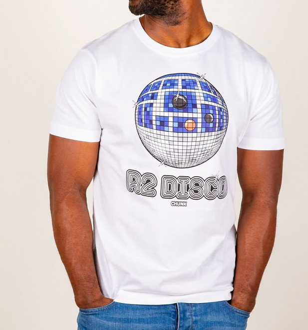 Men's White R2-D2 Disco Star Wars T-Shirt from Chunk