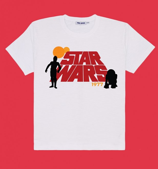 Men's White Retro Star Wars T-Shirt from Fabric Flavours