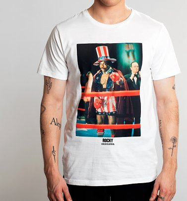Men's White Rocky Apollo Creed Organic Cotton T-Shirt from Dedicated