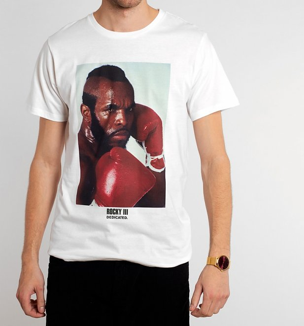Men's White Rocky Clubber Lang T-Shirt from Dedicated