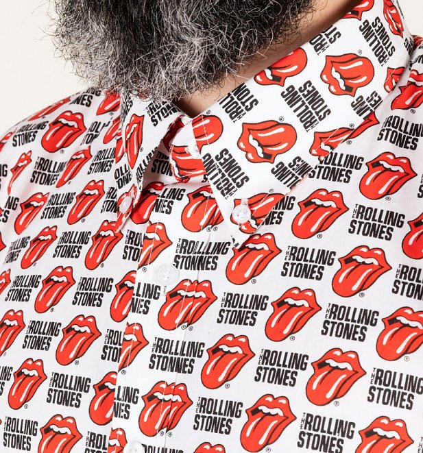 Men's White Rolling Stones Short Sleeve Shirt