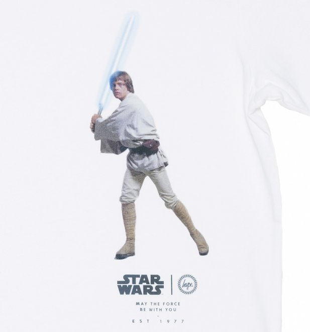 Men's White Star Wars Luke Skywalker Lightside T-Shirt from Hype