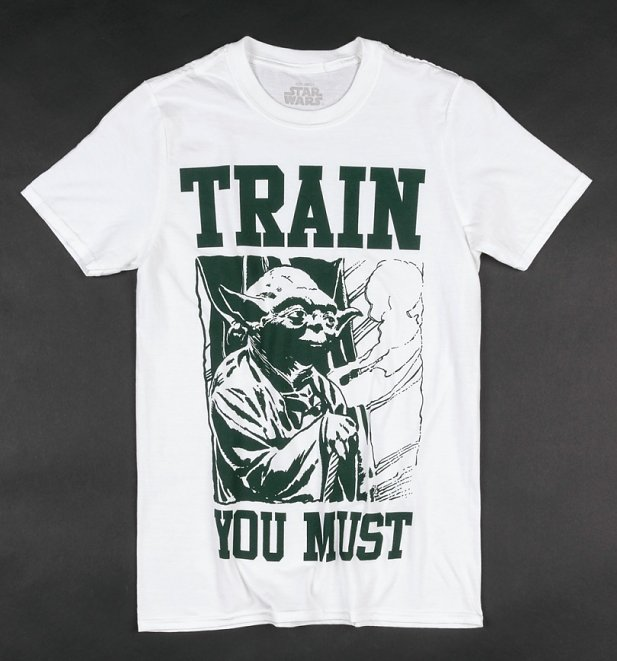 Men's White Star Wars Yoda Train You Must T-Shirt