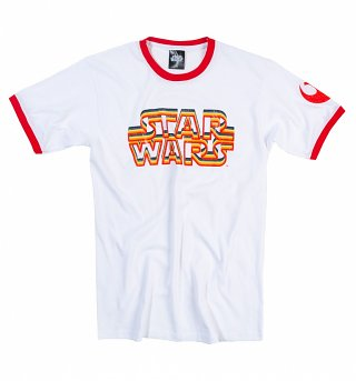 Men's White and Red Star Wars Retro Logo Ringer T-Shirt
