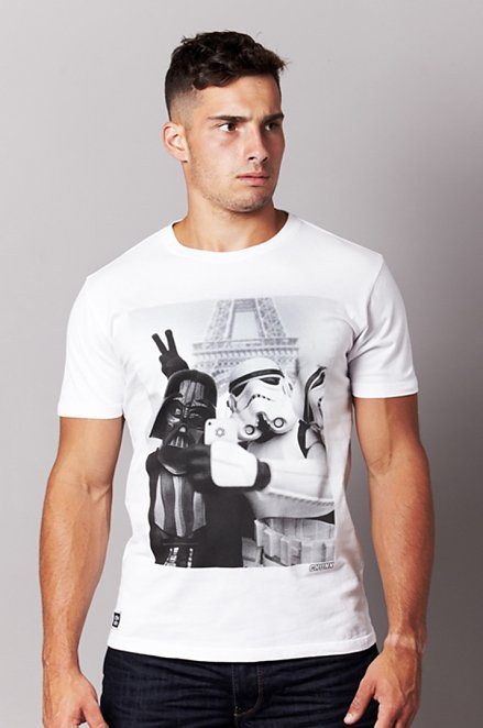 Men's White Stormtrooper And Darth Vader Selfie Star Wars T-Shirt from Chunk