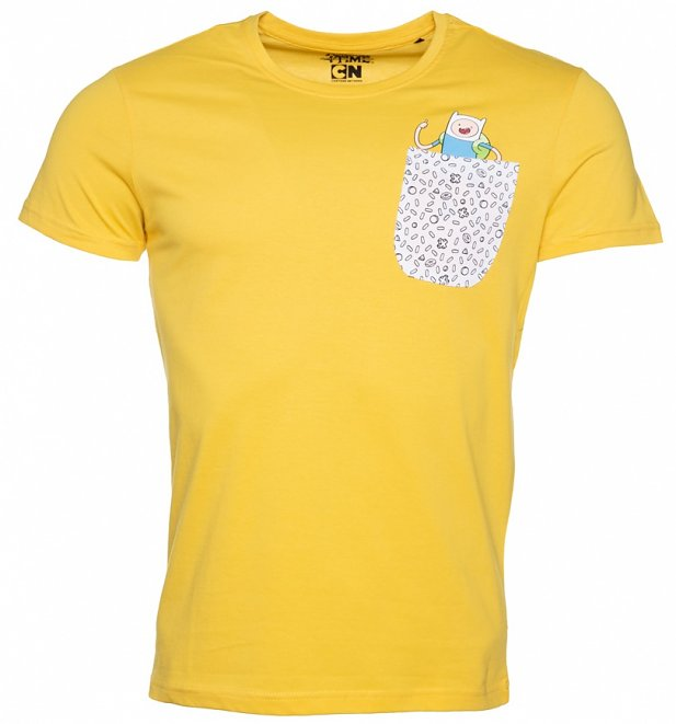 Men's Yellow Adventure Time Pocket T-Shirt
