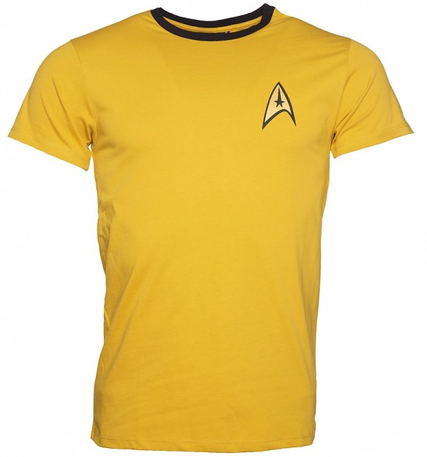Men's Yellow Kirk Costume Star Trek Ringer T-Shirt