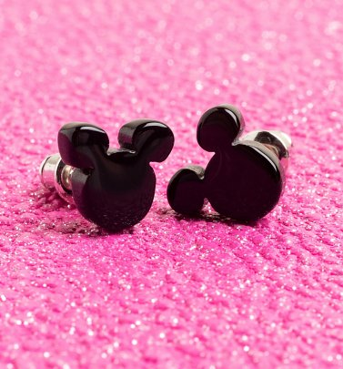 Mickey Mouse Black Stud Earrings