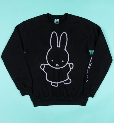 Miffy Black and White Outline Sleeve Print Black Sweater