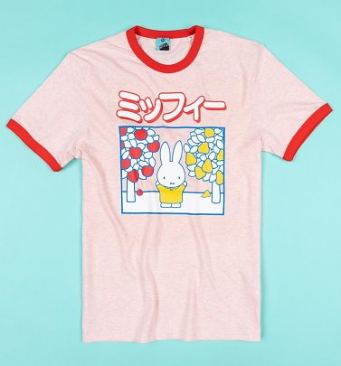 Miffy Japanese Print Pink And Red Ringer T-Shirt