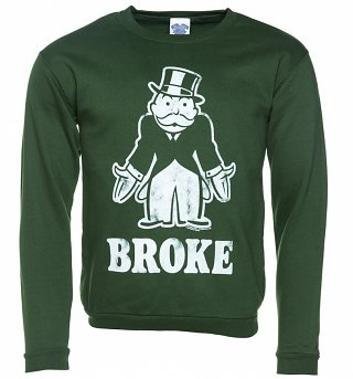 Monopoly Broke Green Sweater
