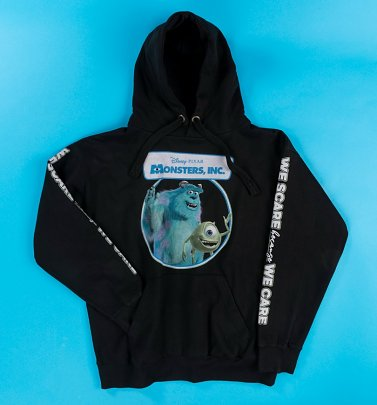Monsters Inc We Scare Because We Care Sleeve Print Black Hoodie