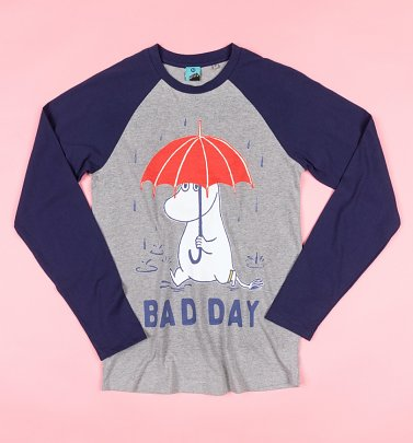 Moomins Bad Day Grey And Navy Baseball Shirt