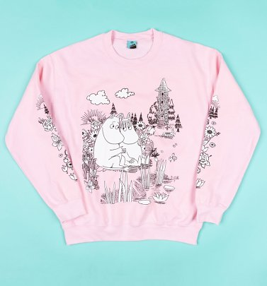 AWAITING APPROVAL PPS SENT 26/5 Moomins Scene Pink Sleeve Print Sweater