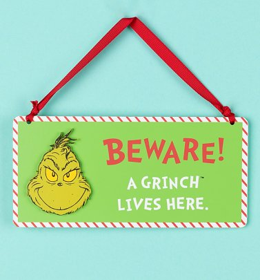 Dr Seuss The Grinch Beware A Grinch Lives Here Hanging Sign