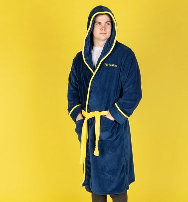 Navy Blue Fleece Yellow Submarine Beatles Hooded Bath Robe