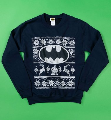 Navy DC Comics Batman Fair Isle Christmas Sweater