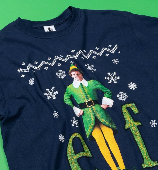 Navy Fairisle Elf Christmas T-Shirt