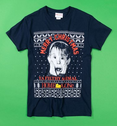 Navy Home Alone Merry Christmas Fairisle T-Shirt