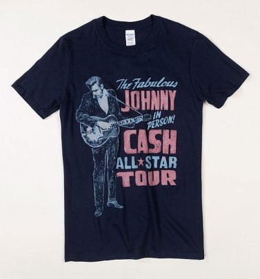 Navy Johnny Cash On Tour T-Shirt with Back Print