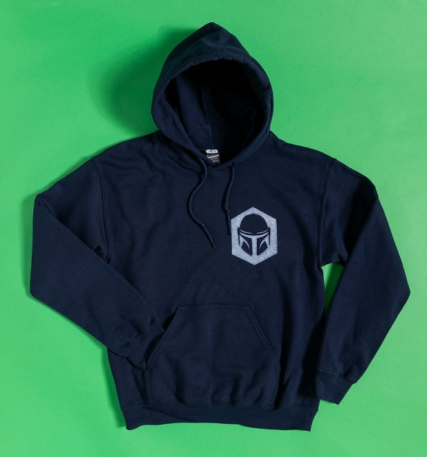 Navy The Child Mandalorian Hoodie with Back Print