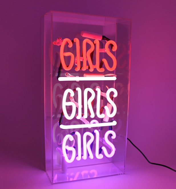 Neon Girls Girls Girls Acrylic Box Light