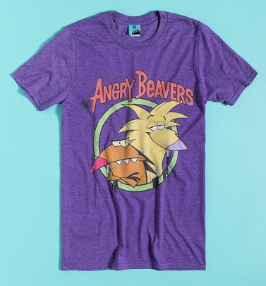 Nickelodeon The Angry Beavers Purple Marl T-Shirt