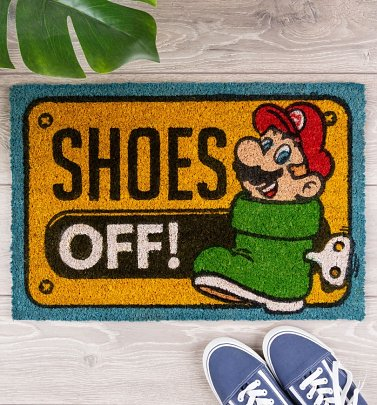 Nintendo Super Mario Shoes Off Door Mat