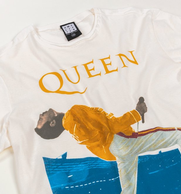 Off White Freddie Mercury Queen T-Shirt from Amplified