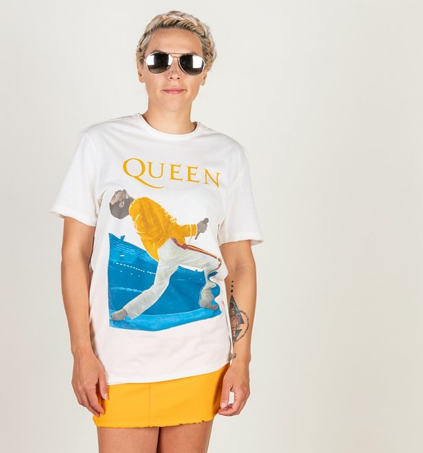 Vintage White Freddie Mercury Queen T-Shirt from Amplified