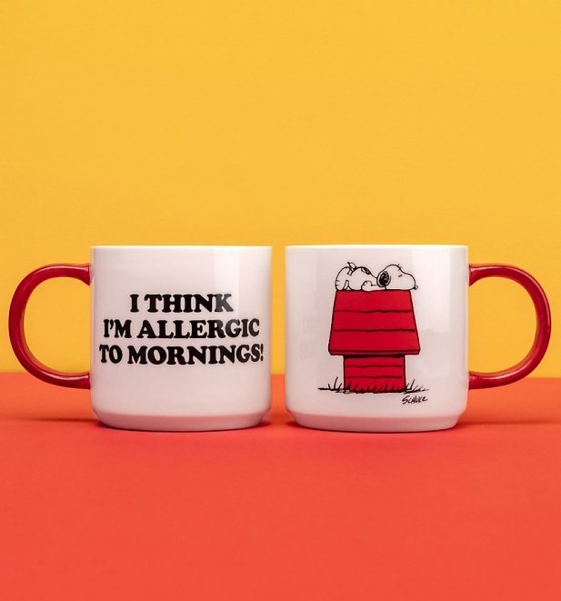 Peanuts Snoopy Allergic To Mornings Mug