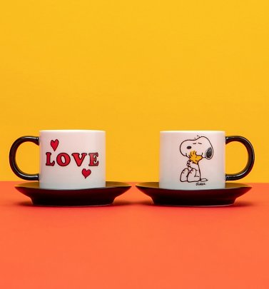 Peanuts Snoopy Love Espresso Mug And Saucer Set