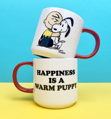 Peanuts Snoopy and Charlie Brown Happiness Is A Warm Puppy Hug Mug