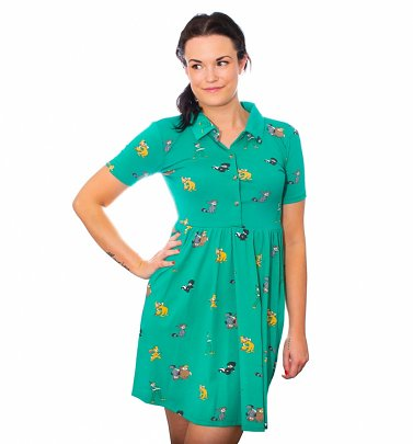 Peter Pan The Lost Boys All Over Print Button Up Dress from Cakeworthy