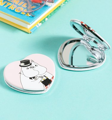 Pink Moomin Love Heart Shaped Compact Mirror