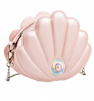 Pink Pearlised PU Shell Cross Body Bag