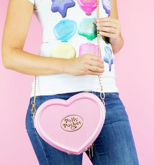 Pink Polly Pocket Heart Shaped Cross Body Bag